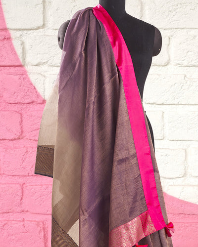 Orchid Purple Shaded Tissue Saree