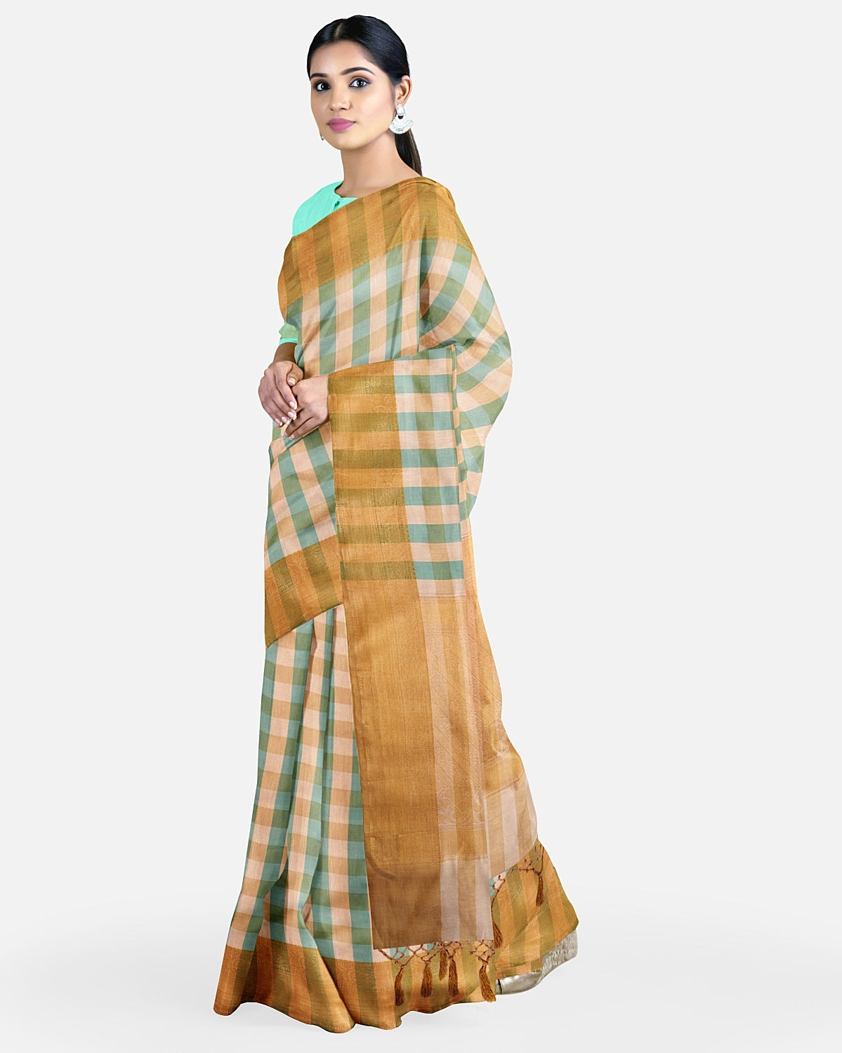 Turquoise and Cream Check cotton Saree