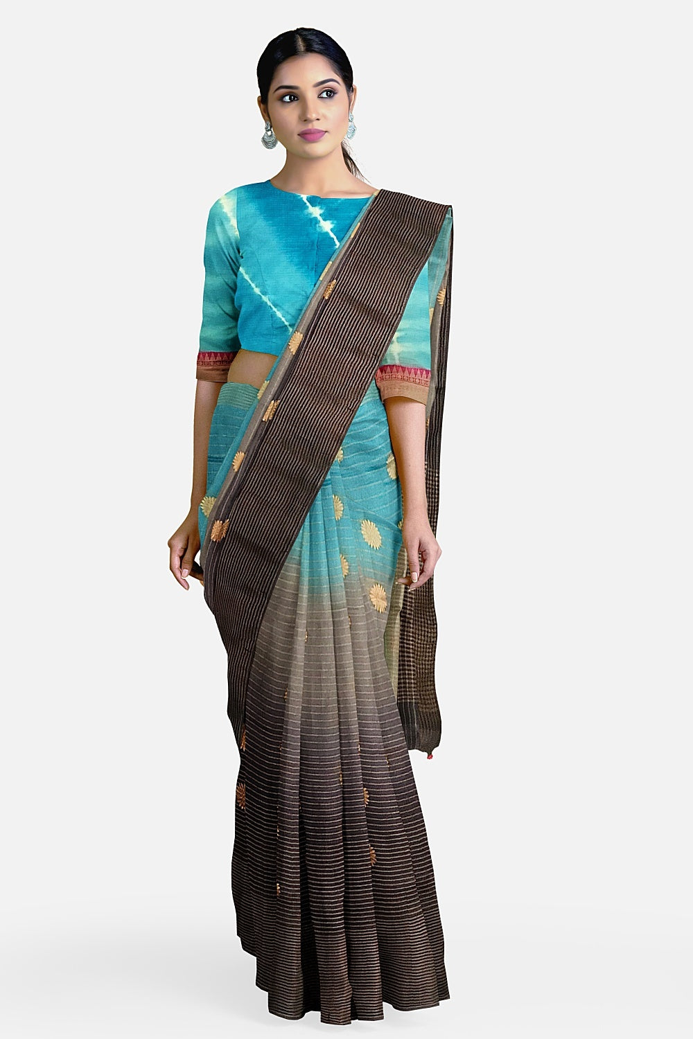 Turquoise Shaded Cotton Chanderi Saree