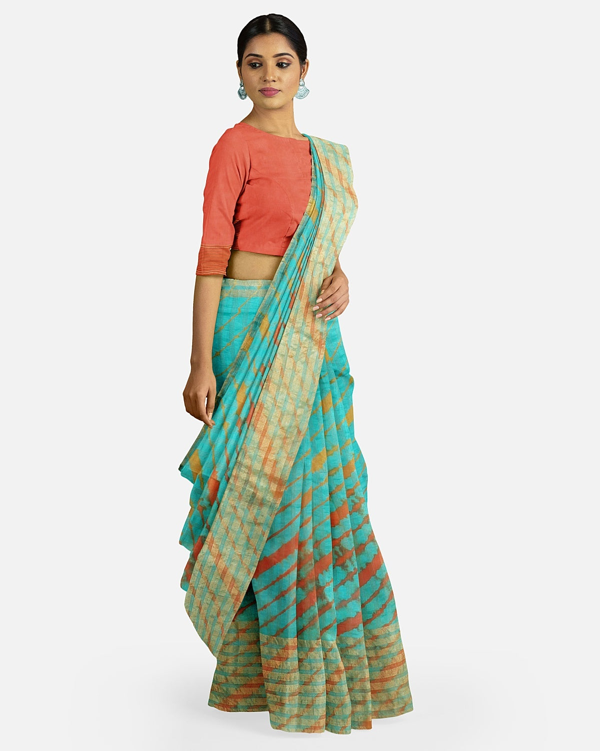 Turquoise Leheriya Light Silk Saree