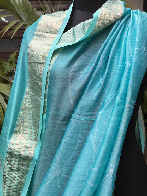 Turquoise Shibori Cotton Chanderi Saree