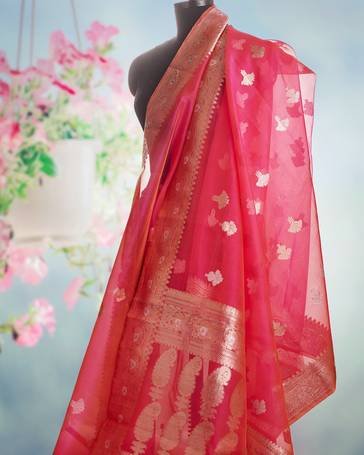 Watermelon Blast Organza Saree