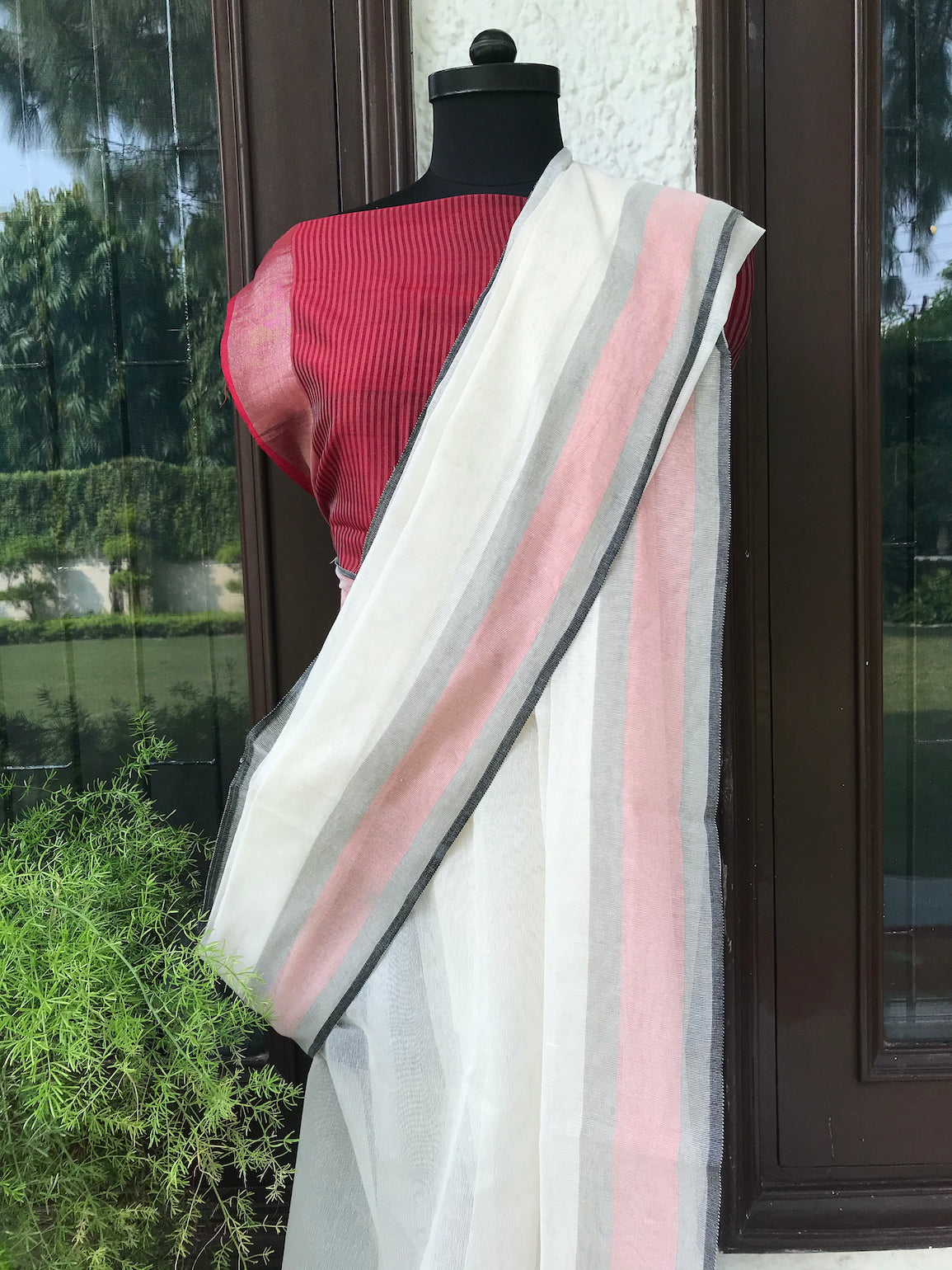 White Khadi Net Saree