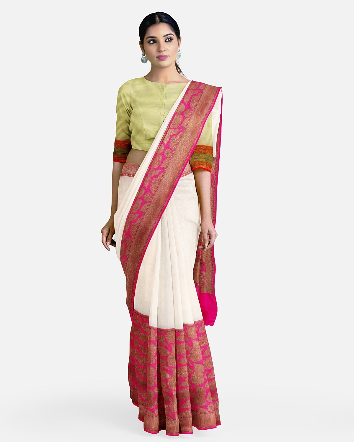 White & Pink Jaamdani Cotton Saree