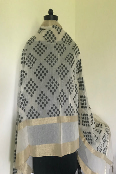 Milk White Cotton Polka Dupatta