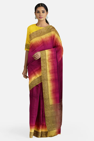 Yellow & Wine Matka Georgette Saree
