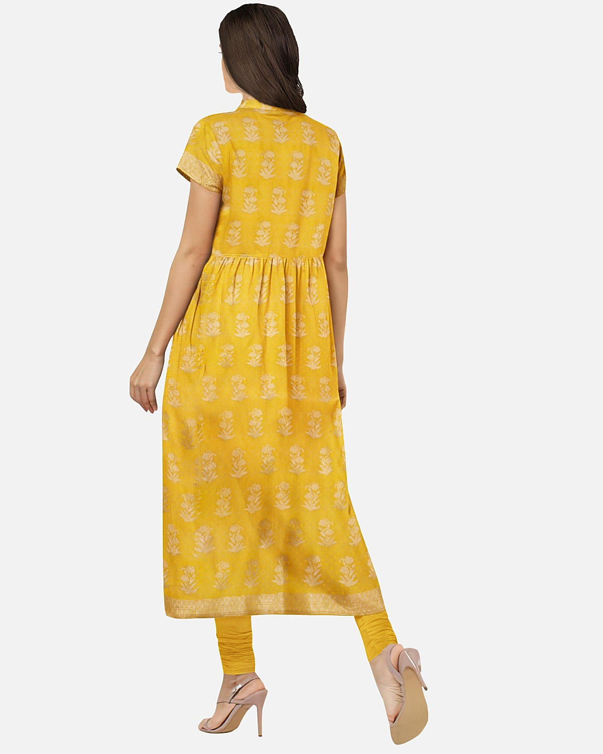Golden Yellow Cotton Chanderi 2 pc Suit Fabric Set