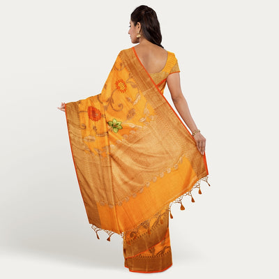 Mango yellow uppada cotton