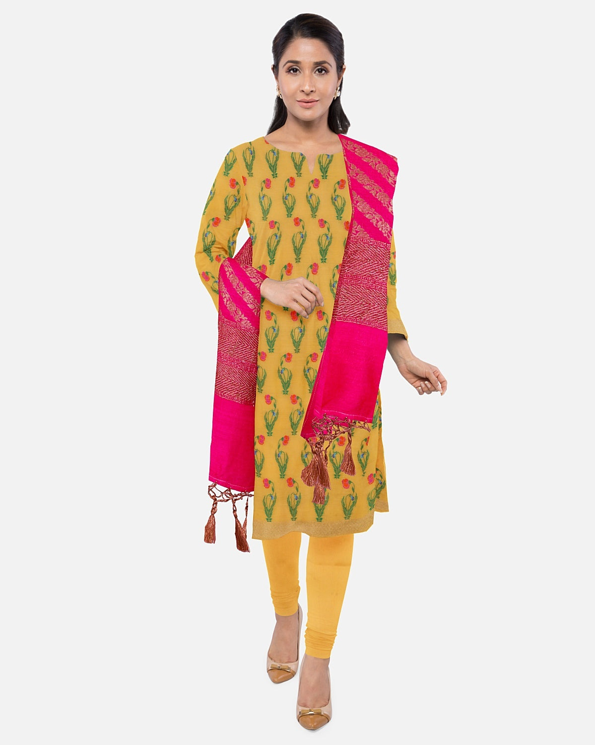 Golden Yellow Moonga Brocade Suit Fabric Set