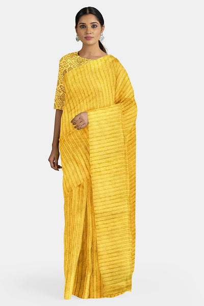 Sunflower Yellow Striped Organza Saree