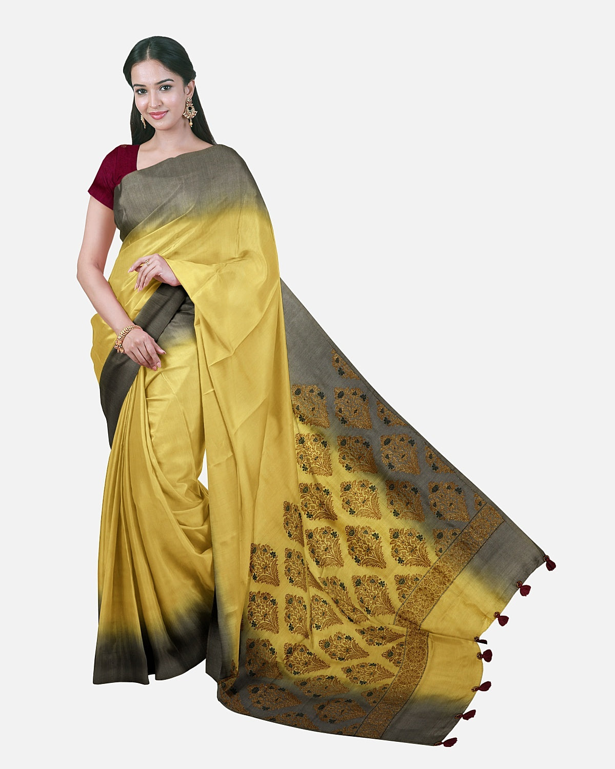 Yellow Matka Georgette Palla Saree