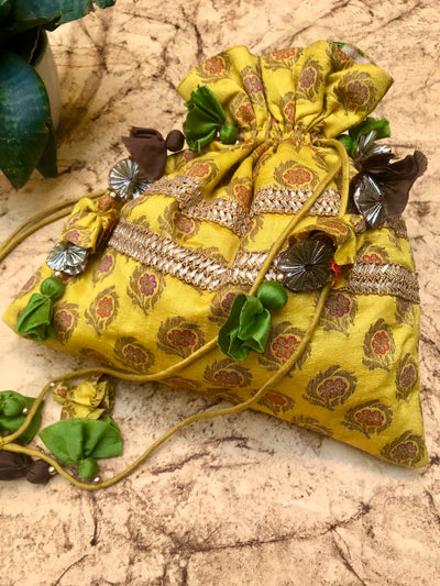 Laburnum Yellow Brocade Potli
