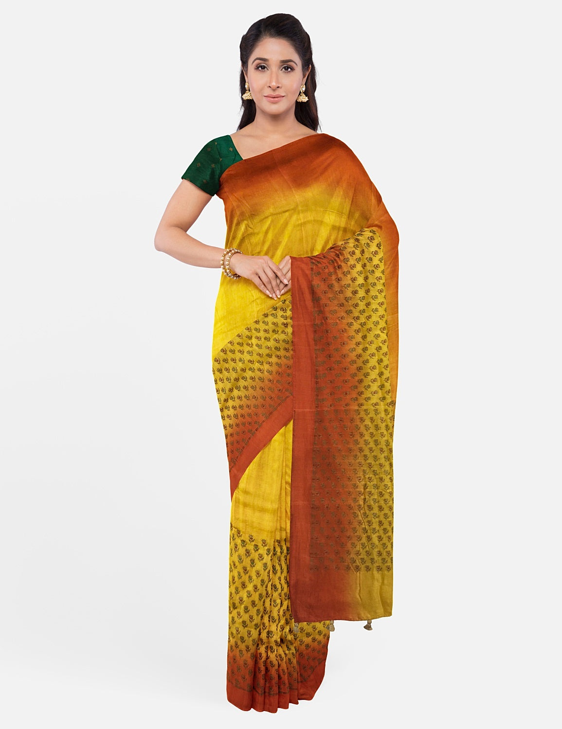 Yellow Rust Silk Matka Saree