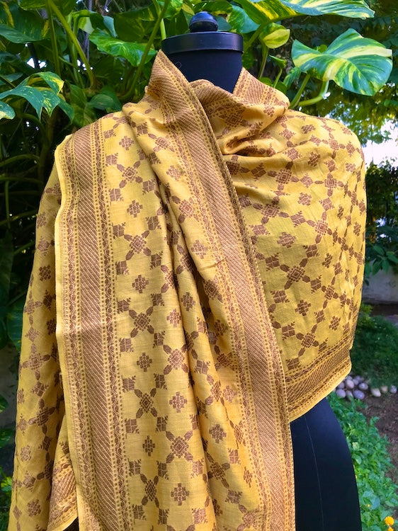 Yellow Silk Matka Stole