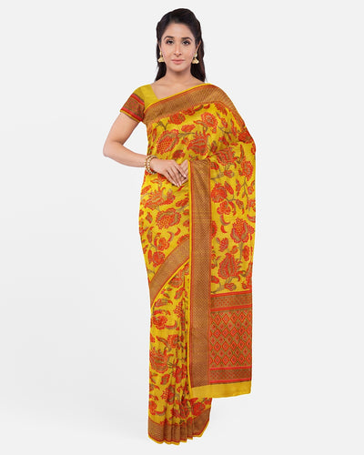 Yellow Tussar Georgette Saree