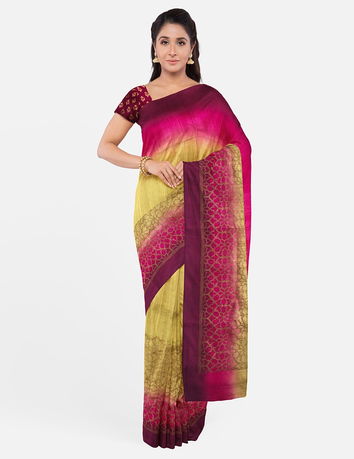 Mehandi Rose & Wine Silk Matka Saree
