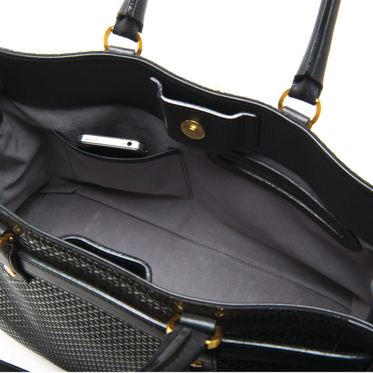 INDEN SATCHEL BAG  Black x Black Seven Treasures