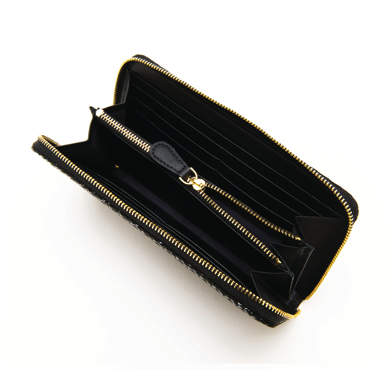 INDEN ZIPPED LONG WALLET Black x Black Seven Treasures