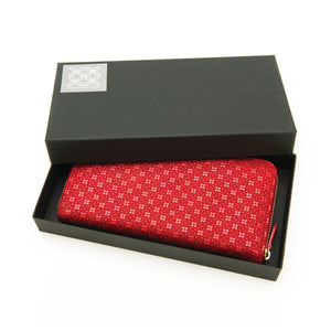 INDEN ZIPPED LONG WALLET Red x Red Flower Lattice
