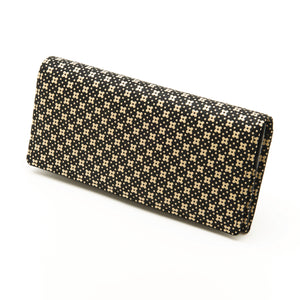 INDEN LONG WALLET Black x Ivory Flower Lattice