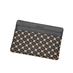 INDEN CARD CASE Black x Ivory Flower Lattice