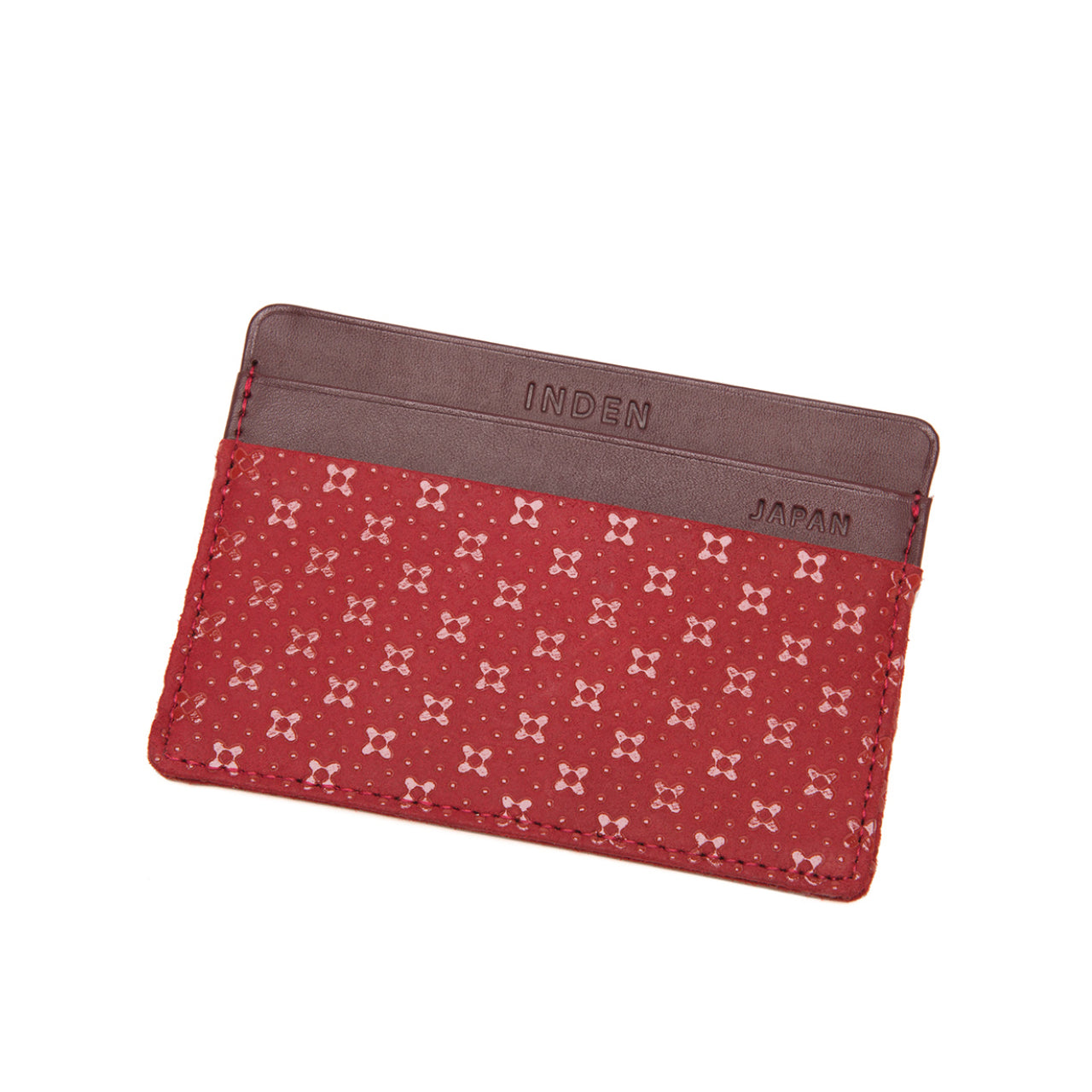 INDEN CARD CASE Red x Red Flower Lattice