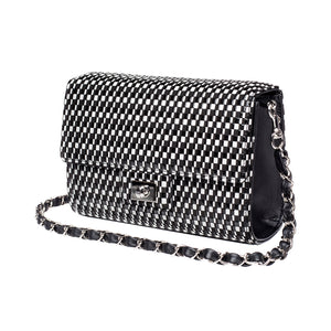 INDEN CROSS-BODY BAG LARGE Black x White Rippleal