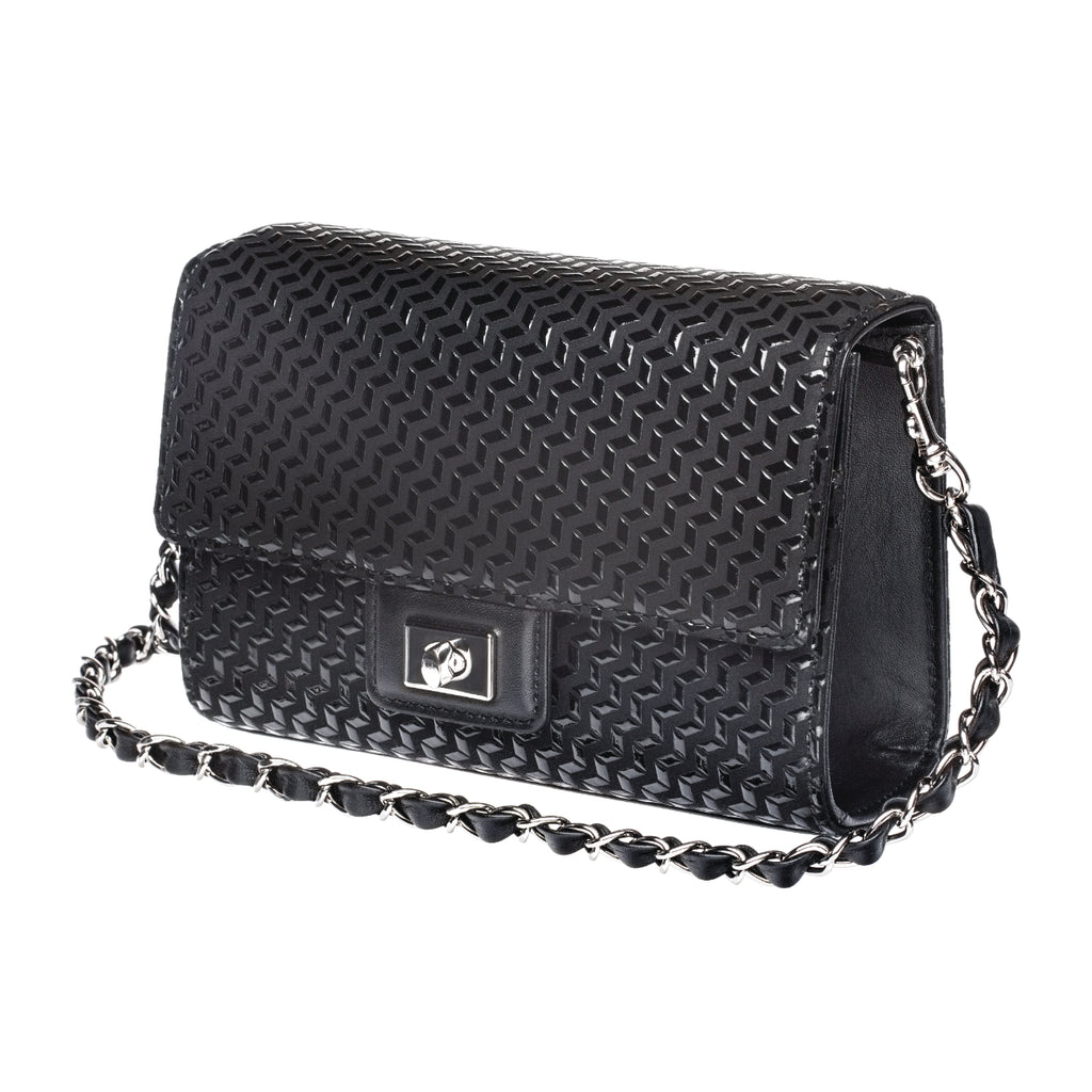 INDEN CROSS-BODY BAG LARGE Black x Black Chevron