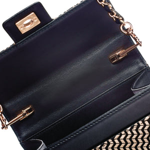 INDEN CROSS-BODY BAG LARGE Black x Ivory Chevron
