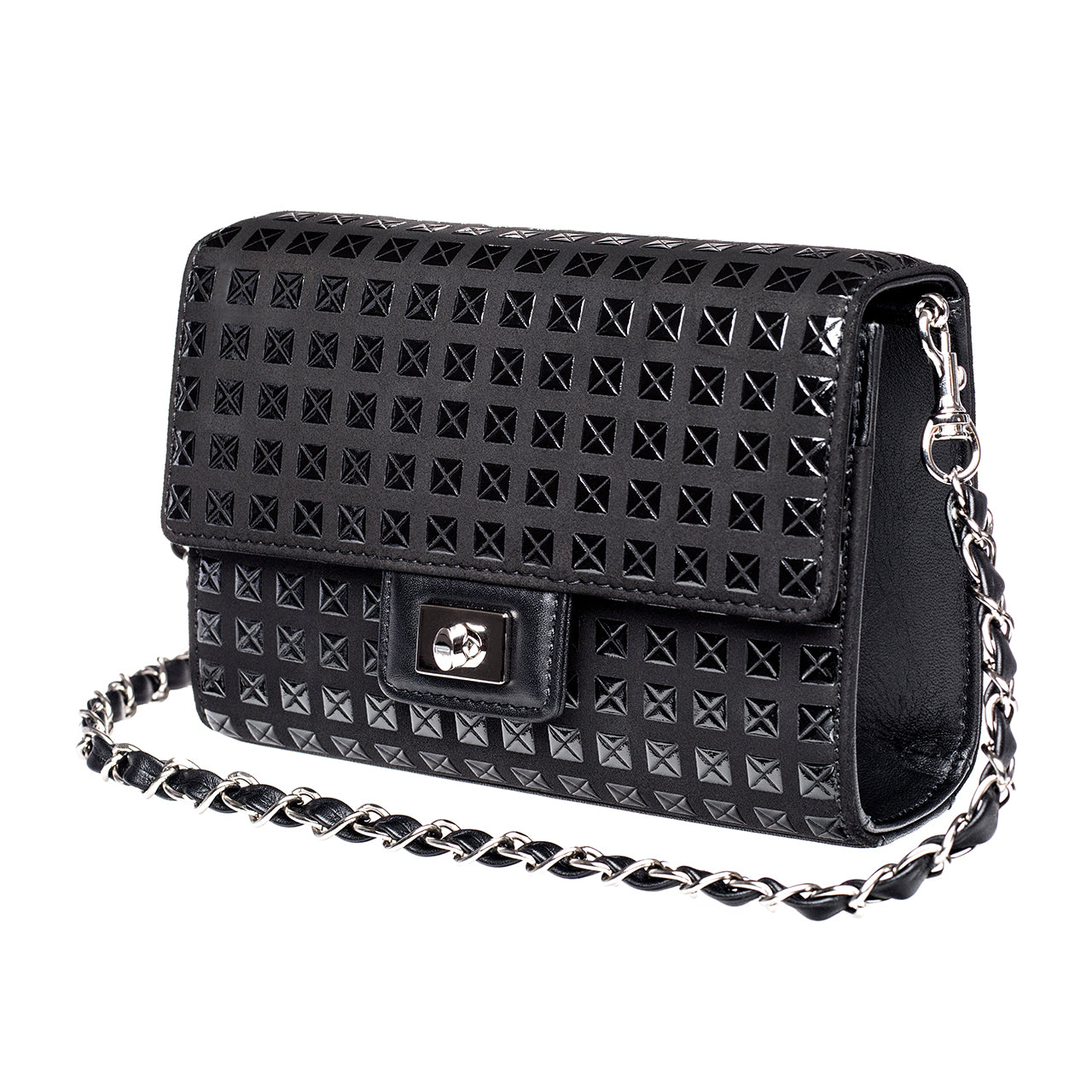 INDEN Cross-Body Bag Rectangle Studs Blk x Blk