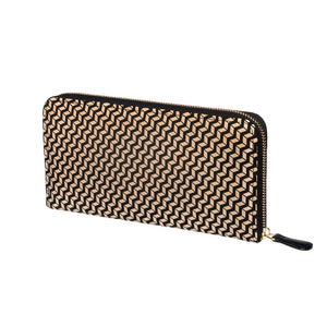INDEN ZIPPED LONG WALLET Black x Ivory Chevron