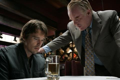 Ethan Hawke and Philip Seymour Hoffman star in Before the Devil Knows Youre Dead, showing outdoors Sept. 29.