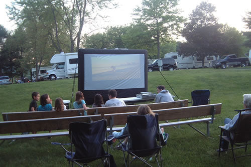 Outdoor Movies at Gettysburg KOA Kampground, Pennsylvania