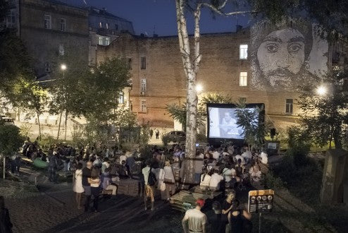Film Screening in Ukraine. Maidan Heroes Square