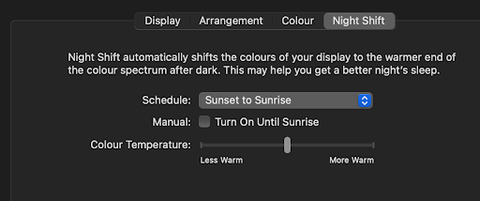Turn off Night Shift for better colors on your projector