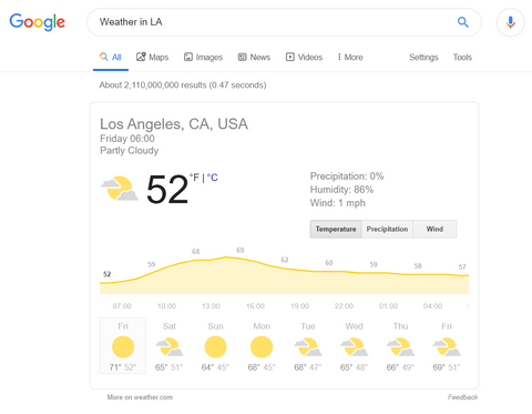 Weather in LA Google