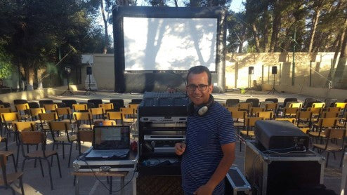 Said Baadj gets his Open Air Cinema system ready for a screening in Djelfa, a pleasant city in north-central Algeria, home to 300,000+ people. Djelfa is located between the dry, steppe-like High Plateaus and the Sahara.