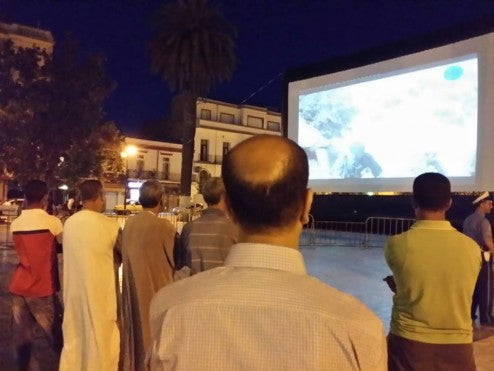 Projecting onto an Elite Open Air Cinema screen in Sidi Bel AbbГЁs, western Algeria