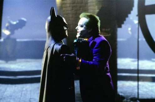 The Caped Crusader and The Joker square off in Tim Burton's