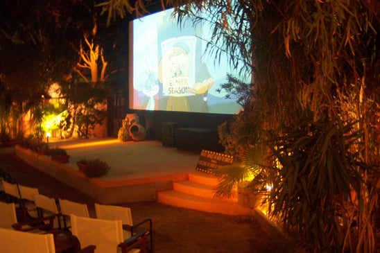 Outdoor Movies at the Open Air Cinema Kamari in Santorini, Greece