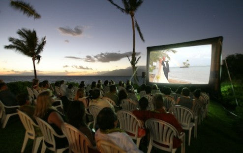outdoor movie wedding