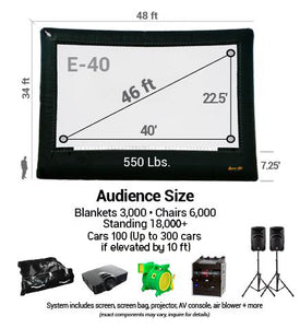 Elite 40' Outdoor Movie System Scheme and Audience Size