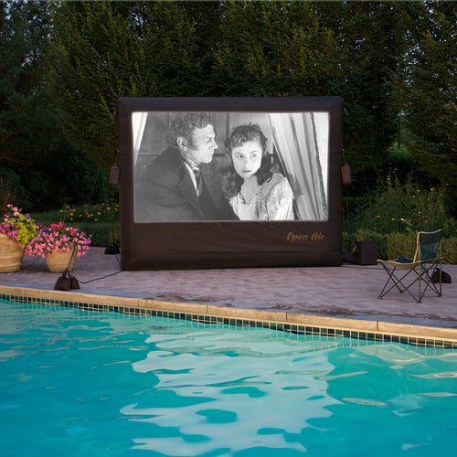 Inflatable 9' screen by the pool