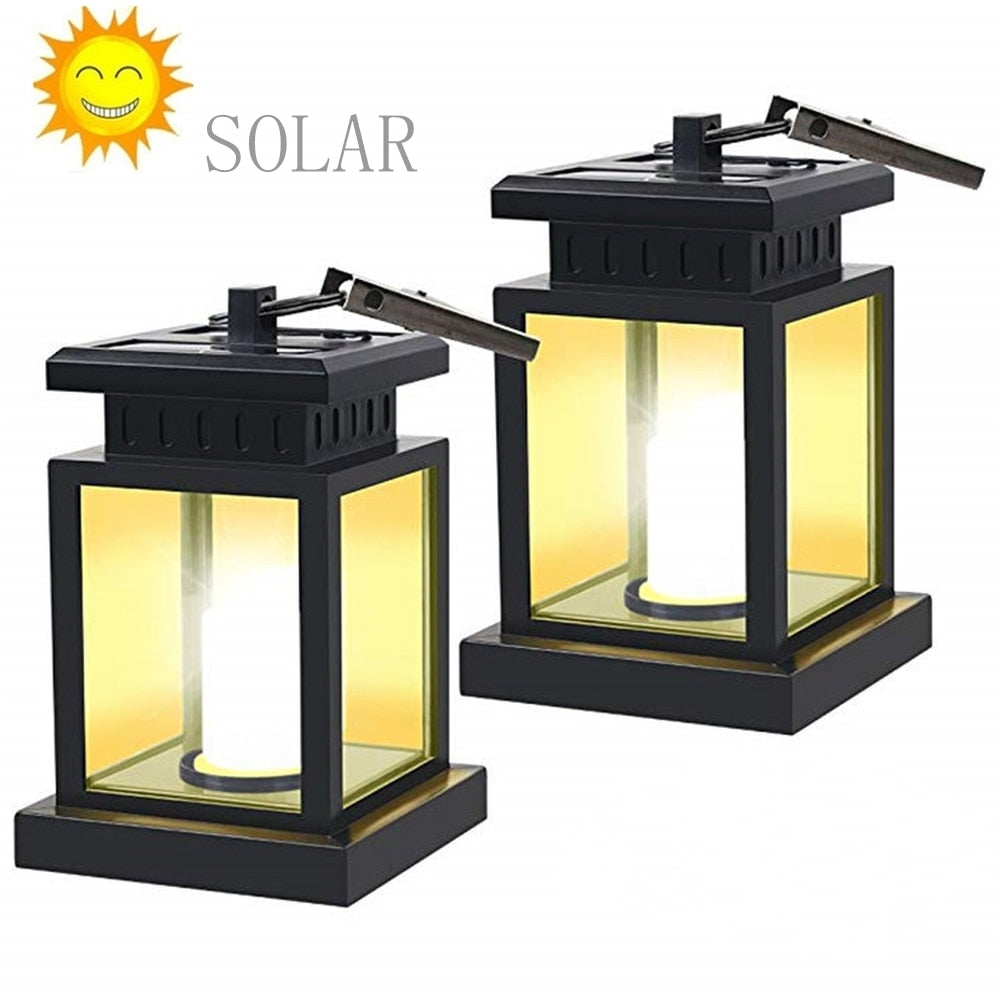 Solar Umbrella Lights Led Hanging Solar Landscape Garden Light Outdoor Waterproof Wall Lamp Candle Flame Light For Patio Lawn