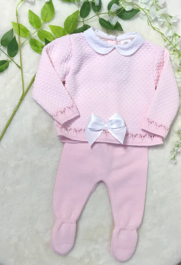 Spanish Pink Knitted Set with Satin Bow