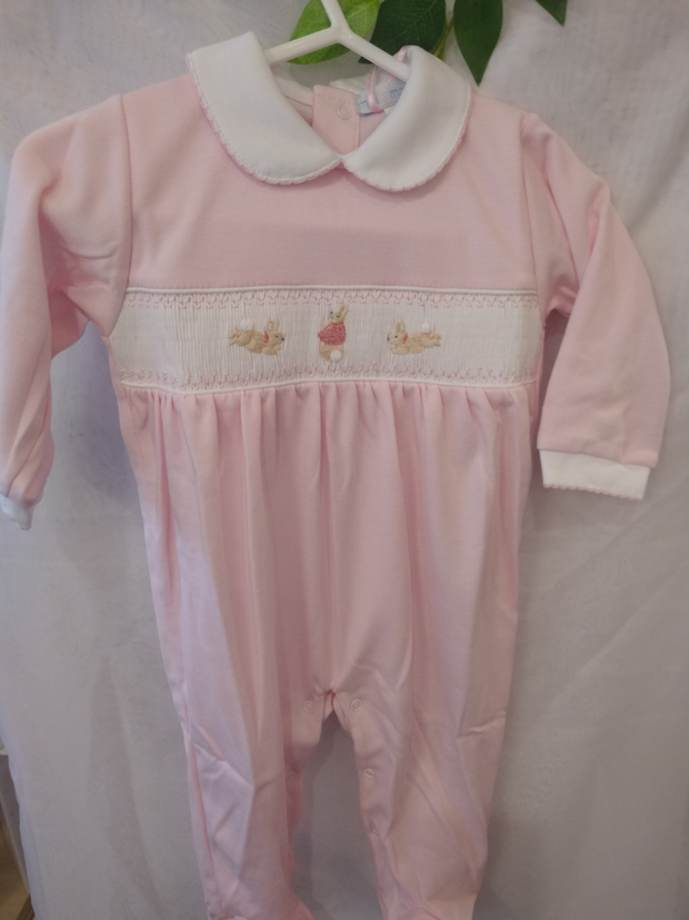 Pink Flopsy Bunny Smocked All-in-One