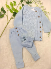 Blue Knitted Three Piece Set