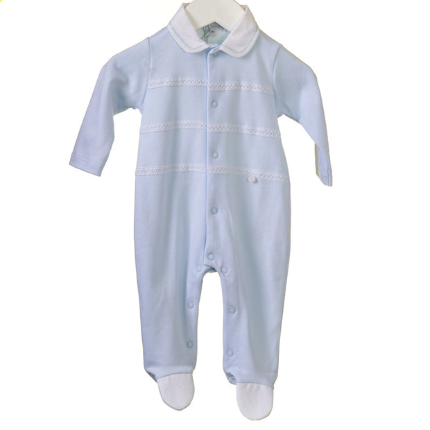 Blue All in One with white stripe detailing, blue trim to peter pan collar, poppers to front and legs for easy undressing!  100% cotton and machine washable.
