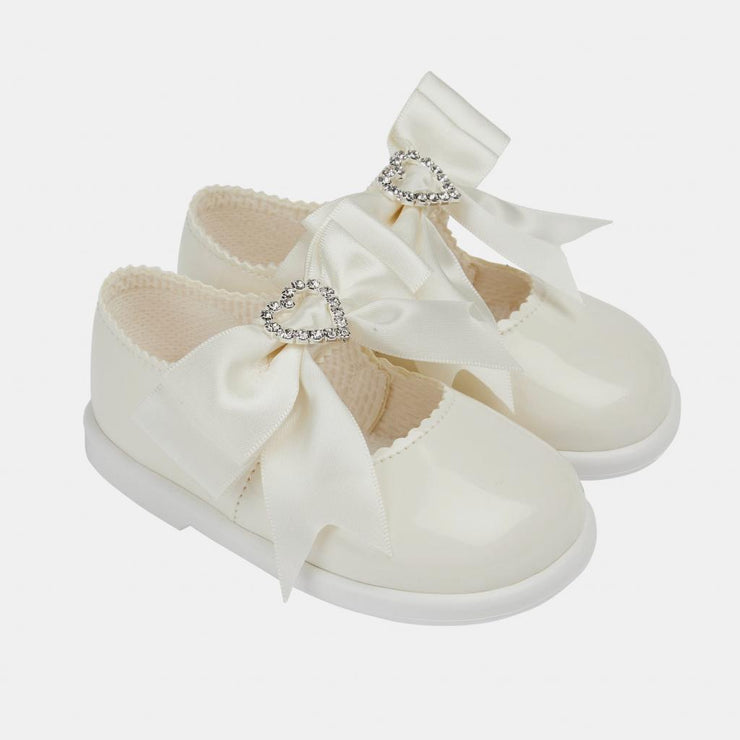 White Bow and Heart Diamante Hard Sole Shoe