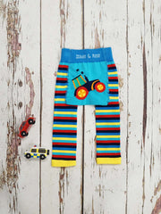 Bright red, yellow ad blue striped leggings with a tractor on the bum, perfect for running around! These leggings are stretchy and no seam so lovely and comfortable for playing. They will also stretch around the bottom and so are a perfect fit over nappies!   75% Cotton/ 20% Nylon/ 5% Elastic  Care: Please wash inside out on a cold or warm cycle. Dry flat away from direct heat.  Please note information from Blade and Rose: the nature of this knitted garment means that it will bobble with wear.
